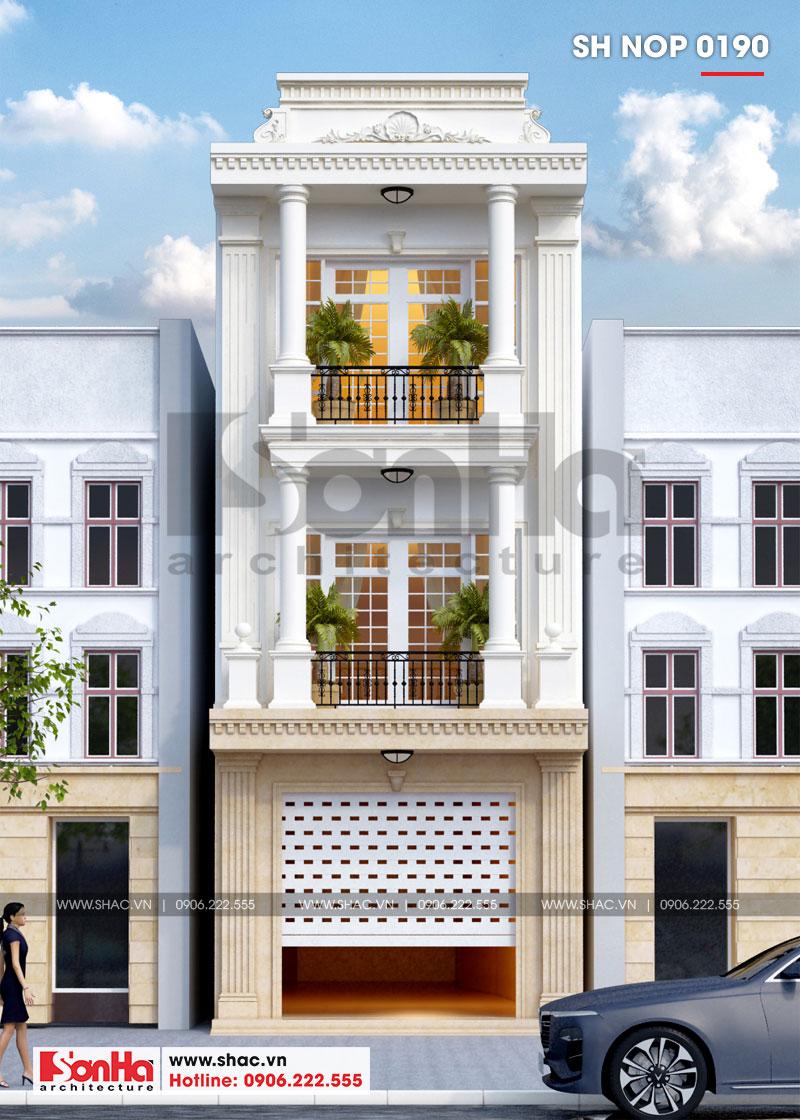 Mẫu nhà phố tân cổ điển 3 tầng có gara ô tô trong nhà tại Hải Phòng – SH NOP 0190 1
