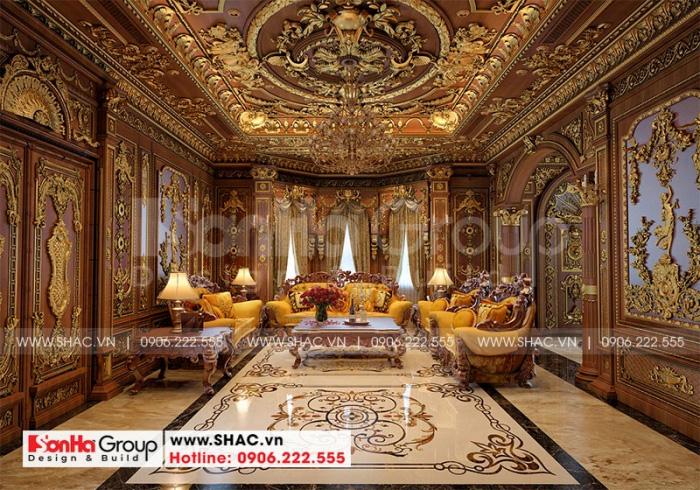 Choáng ngợp trước sự sang trọng và tinh tế của không gian phòng khách biệt thự lâu đài cổ điển xa hoa tại Hà Nội