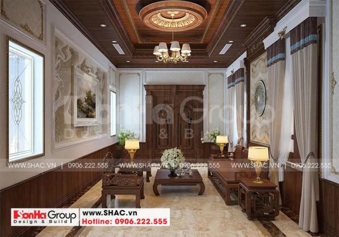 Không gian nội thất biệt thự tân cổ điển được sử dụng nội thất gỗ chủ đạo sang trọng và ấm cúng