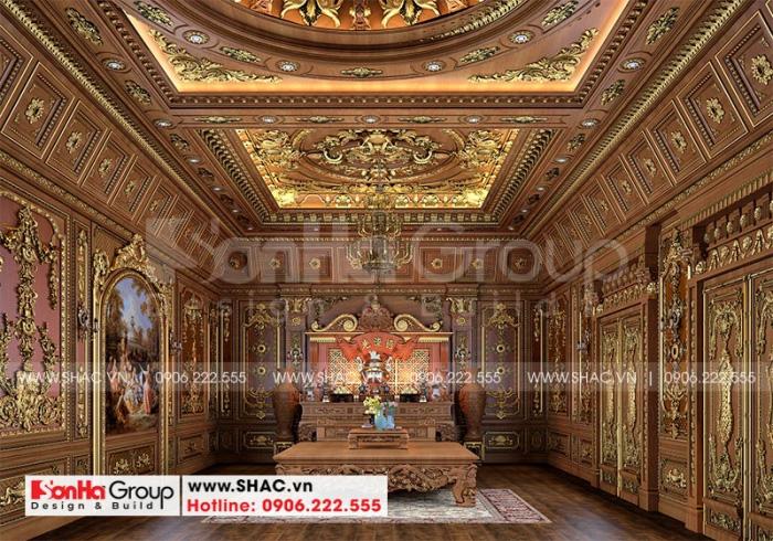 Còn đây là mẫu thiết kế nội thất phòng thờ trang nghiêm và chuẩn phong thủy của ngôi biệt thự lâu đài xa hoa này