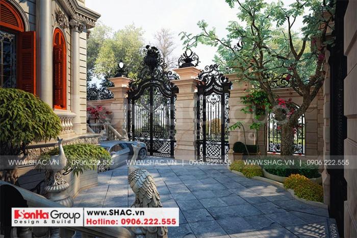 Mẫu thiết kế tiểu cảnh sân vườn biệt thự kiểu lâu đài đẹp tại Hà Nội