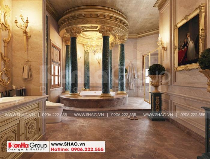 Mẫu thiết kế phòng tắm và nhà vệ sinh tiện nghi cho biệt thự lâu đài