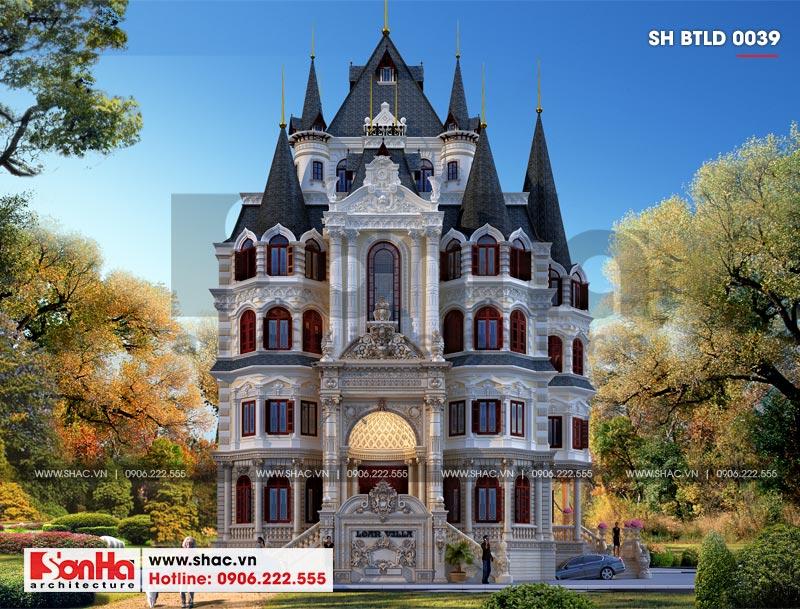 Thiết kế biệt thự lâu đài diện tích 18x9m 4 tầng 1 hầm 1 tum tại Hà Nội – SH BTLD 0039 1