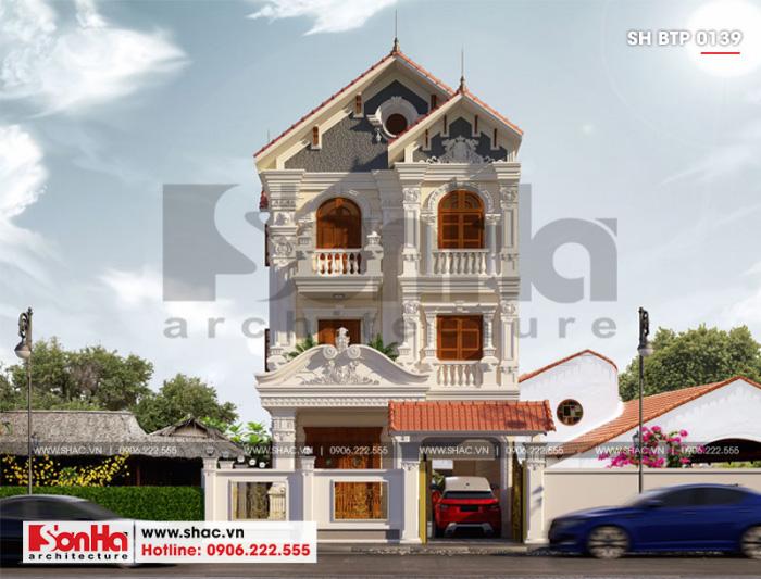 Mẫu biệt thự tân cổ điển có sân vườn và gara ô tô thiết kế đẹp tại Hải Phòng