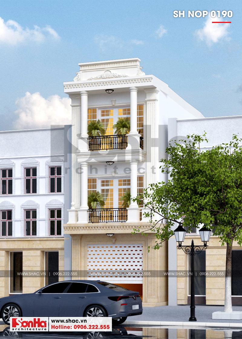 Mẫu nhà phố tân cổ điển 3 tầng có gara ô tô trong nhà tại Hải Phòng – SH NOP 0190 2
