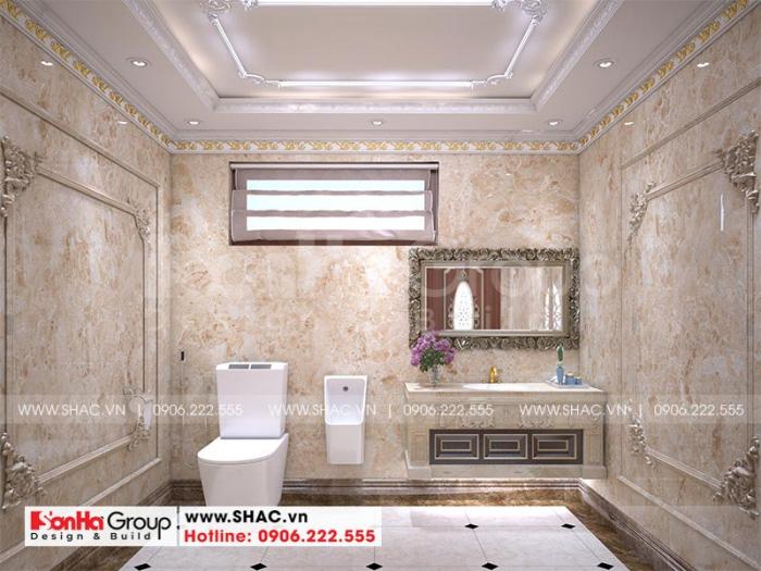 Phòng tắm kết hợp nhà vệ sinh khép kín trong mỗi phòng ngủ của biệt thự lâu đài 4 tầng tại Hà Nội