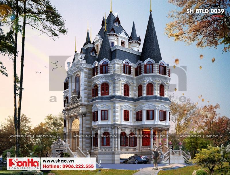 Thiết kế biệt thự lâu đài diện tích 18x9m 4 tầng 1 hầm 1 tum tại Hà Nội – SH BTLD 0039 3