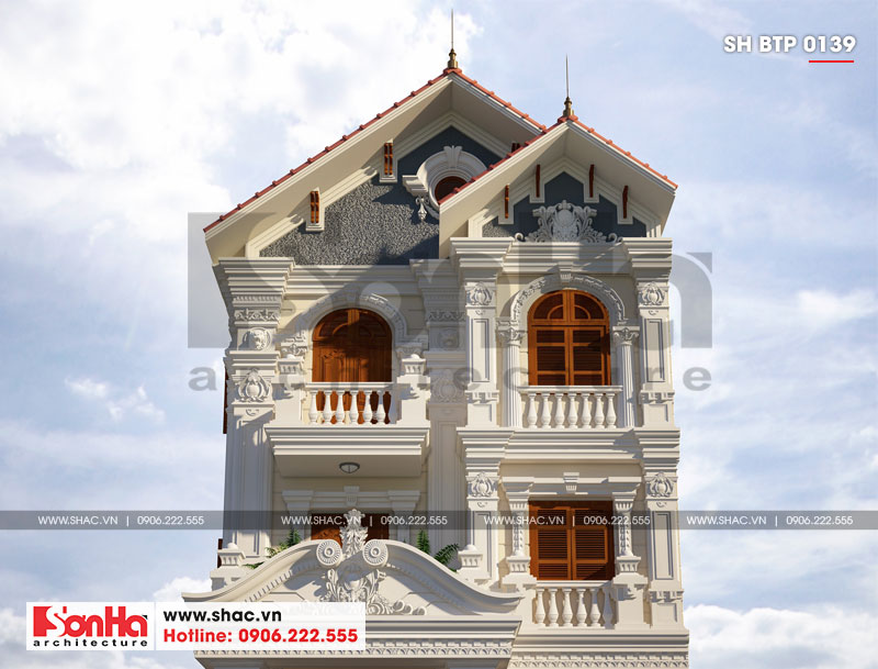 Biệt thự tân cổ điển 9x19m 3 tầng có gara ô tô tại Hải Phòng – SH BTP 0139 3