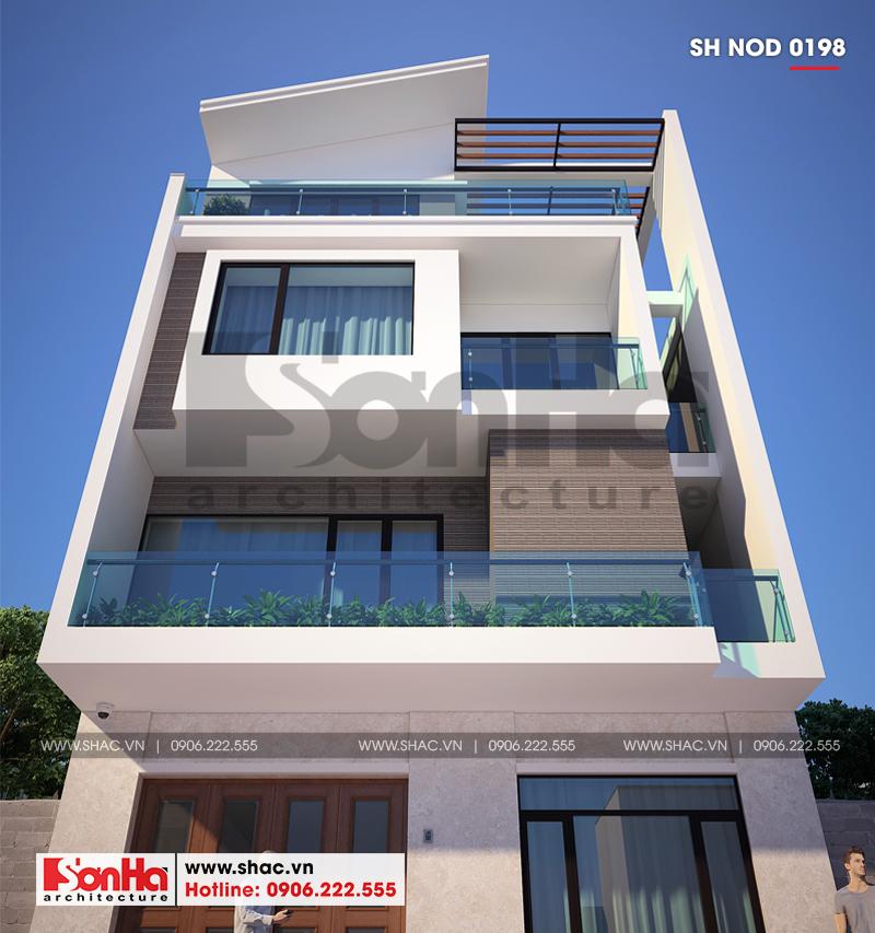 Mặt tiền nhà phố hiện đại tại Quảng Ninh được tạo thành từ các đường nét đơn giản