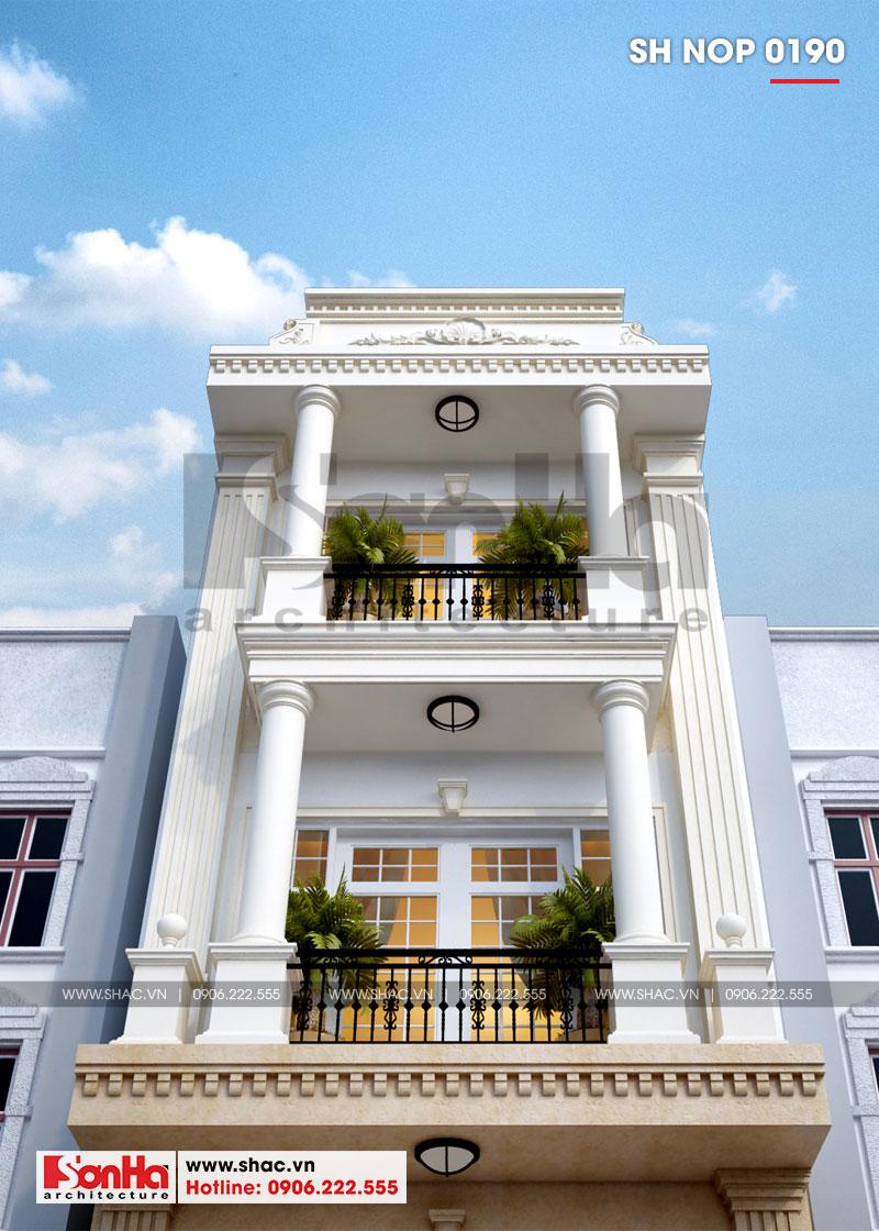 Mẫu nhà phố tân cổ điển 3 tầng có gara ô tô trong nhà tại Hải Phòng – SH NOP 0190 3
