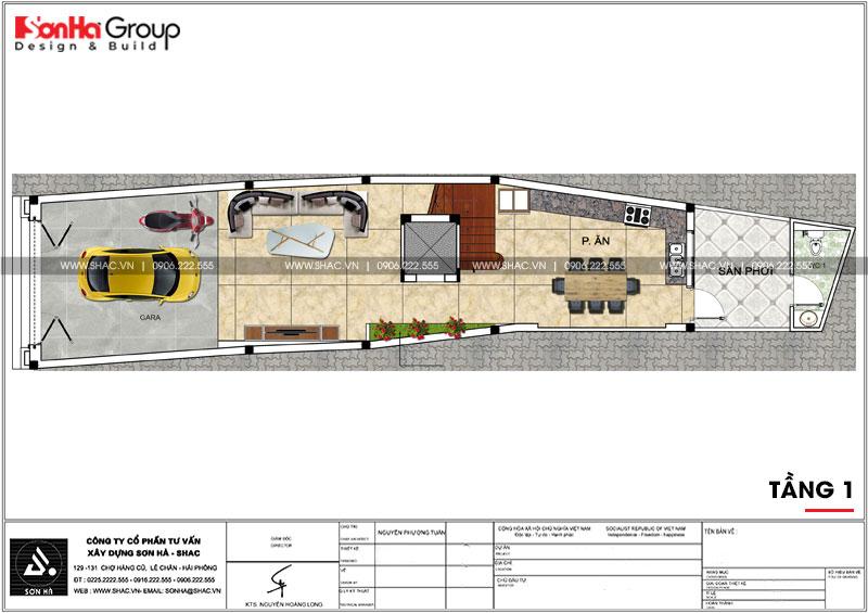 Mẫu nhà phố tân cổ điển 3 tầng có gara ô tô trong nhà tại Hải Phòng – SH NOP 0190 4