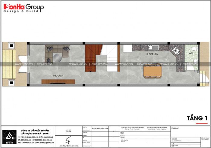 Bản vẽ công năng tầng 1 ngôi nhà ống kiến trúc Pháp 3 tầng tại Hải Phòng