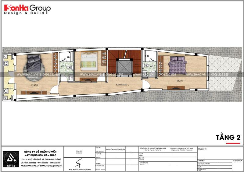 Mẫu nhà phố tân cổ điển 3 tầng có gara ô tô trong nhà tại Hải Phòng – SH NOP 0190 5