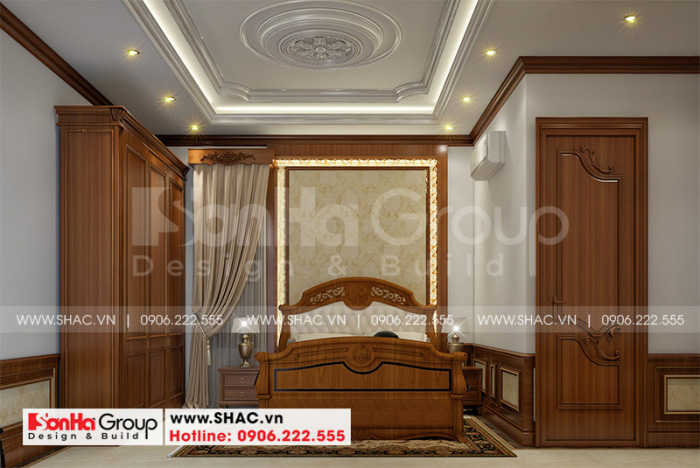 Không gian phòng ngủ đẹp phong cách tân cổ điển với đường nét tinh tế
