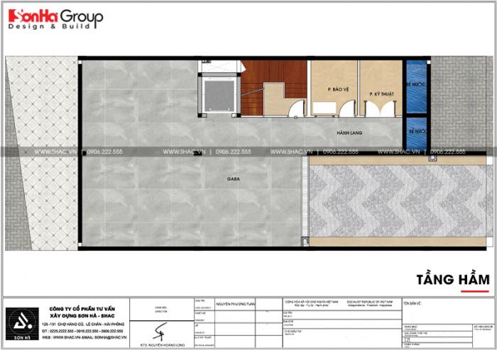 Bản vẽ mặt bằng công năng tầng hầm của tòa văn phòng kết hợp căn hộ cho thuê