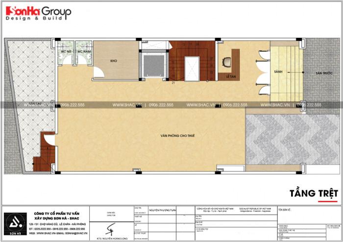 Bản vẽ mặt bằng công năng tầng trệt của tòa văn phòng kết hợp căn hộ cho thuê
