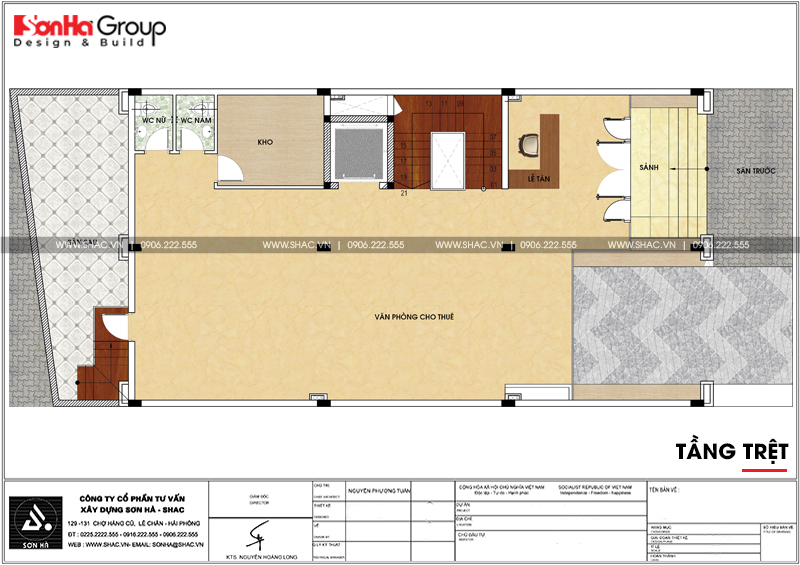 Thiết kế văn phòng kết hợp cho thuê diện tích 10x18m tại Sài Gòn – SH VP 0036 5