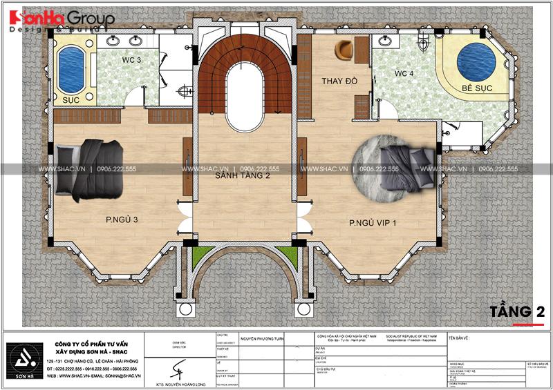 Thiết kế biệt thự lâu đài diện tích 18x9m 4 tầng 1 hầm 1 tum tại Hà Nội – SH BTLD 0039 6
