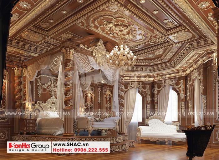 Ý tưởng thiết kế nội thất phòng ngủ vô cùng tinh xảo mà các KTS Sơn Hà mang đến cho ngôi tòa biệt thự lâu đài 4 tầng