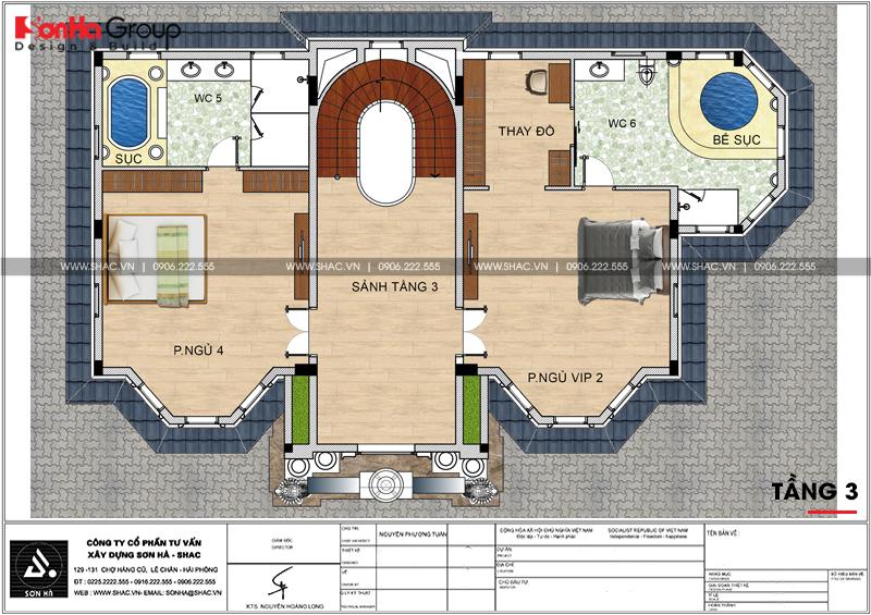 Thiết kế biệt thự lâu đài diện tích 18x9m 4 tầng 1 hầm 1 tum tại Hà Nội – SH BTLD 0039 7