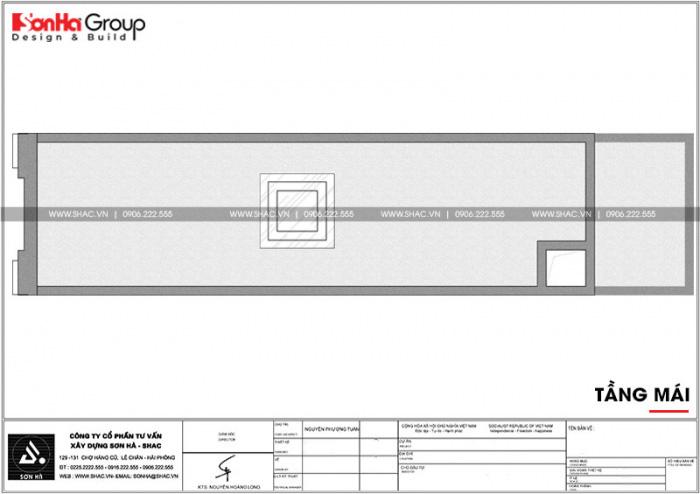 Bản vẽ công năng tầng mái ngôi nhà ống kiến trúc Pháp 3 tầng tại Hải Phòng