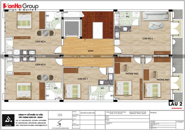 Bản vẽ mặt bằng công năng lầu 2 của tòa văn phòng kết hợp căn hộ cho thuê