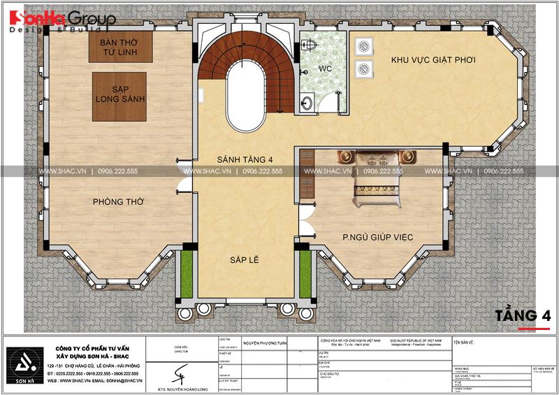 Thiết kế biệt thự lâu đài diện tích 18x9m 4 tầng 1 hầm 1 tum tại Hà Nội – SH BTLD 0039 8
