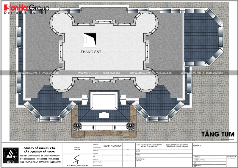 Thiết kế biệt thự lâu đài diện tích 18x9m 4 tầng 1 hầm 1 tum tại Hà Nội – SH BTLD 0039 9