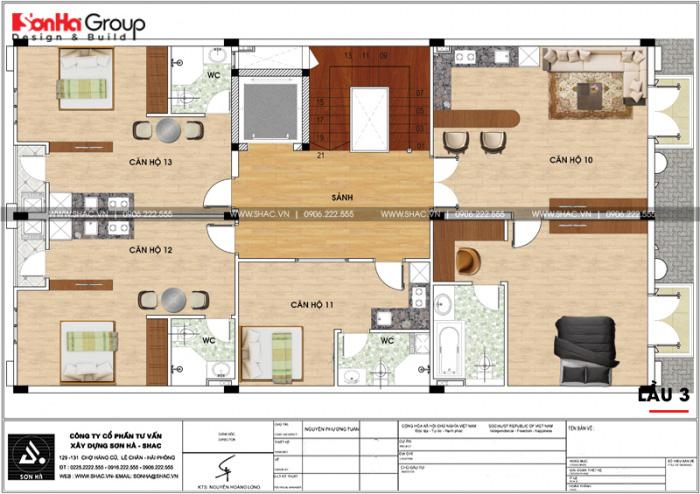 Bản vẽ mặt bằng công năng lầu 3 của tòa văn phòng kết hợp căn hộ cho thuê