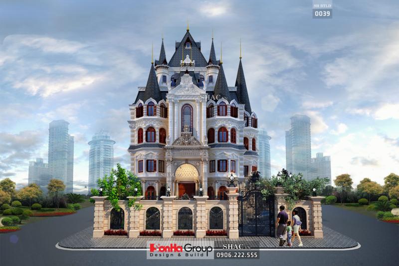 Biệt thự lâu đài rộng 165m2 4 tầng 1 tum