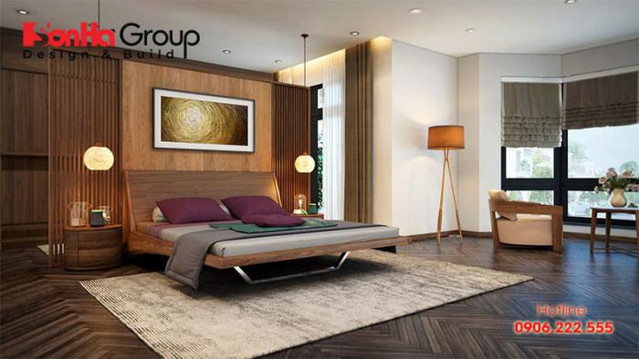 Mẫu phòng ngủ đẹp diện tích 30m2 với bố cục mạch lạc thoáng đãng
