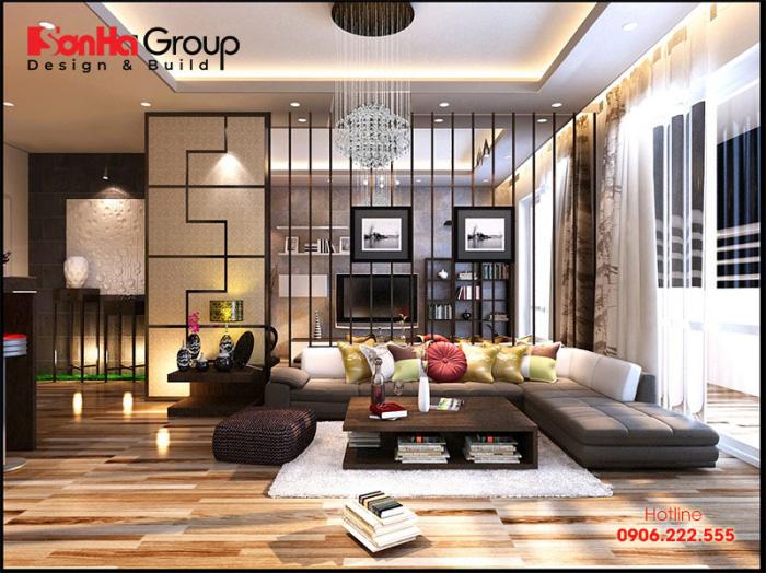 Thiết kế phòng khách hiện đại kết hợp nội thất mua sẵn và đóng theo thiết kế