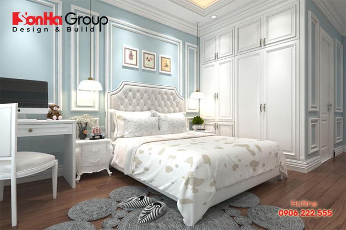 Thiết kế phòng ngủ 30m2 phong cách tân cổ điển lại mang đến màu sắc khác