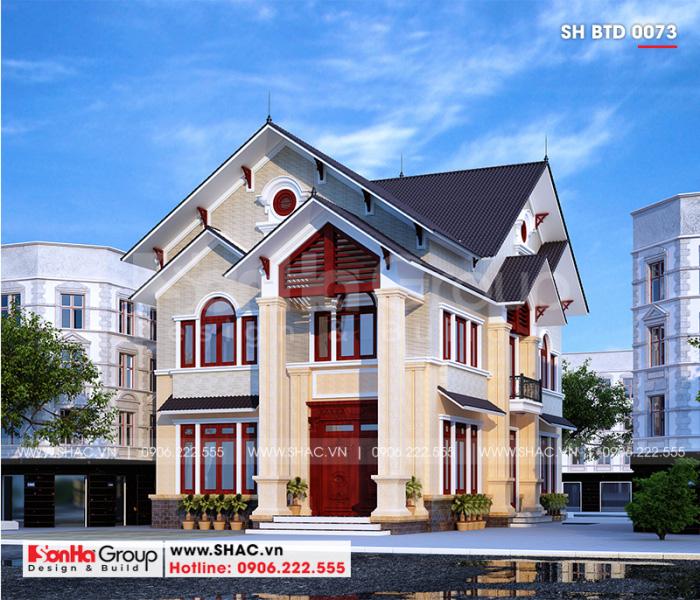 Mẫu thiết kế biệt thự hiện đại mái thái 2 tầng đẹp và sang tại Hải Phòng