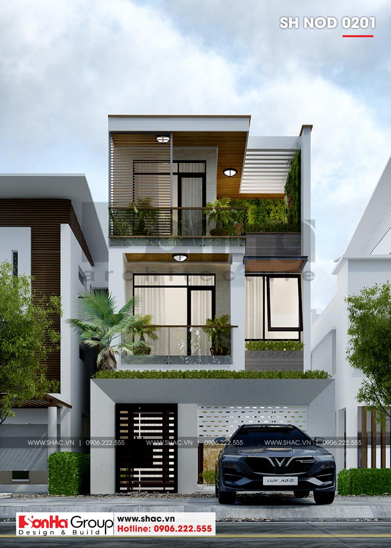 Mẫu thiết kế nhà ống hiện đại 3 tầng có gara ô tô trong nhà tại Bắc Ninh