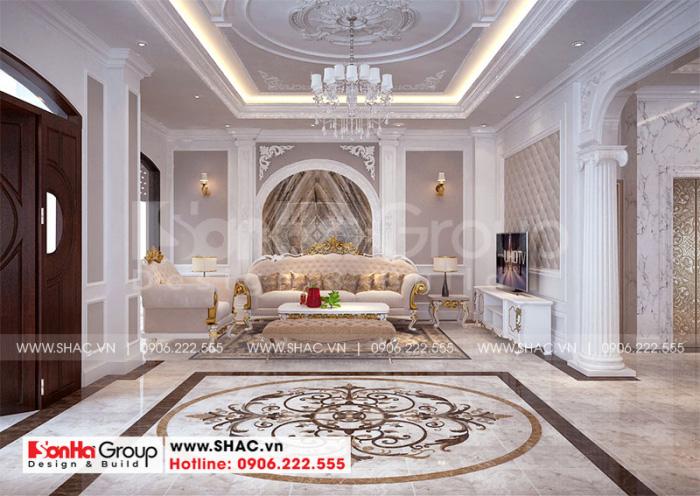 Thiết kế nội thất phòng khách biệt thự song lập Vinhome Imperia Hải Phòng
