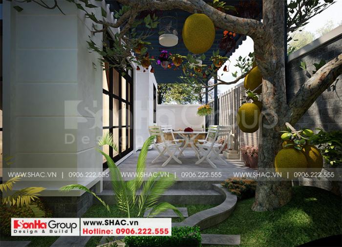 Sân vườn thiết kế đẹp với bố trí khi cafe thư giãn ngoài trời thơ mộng