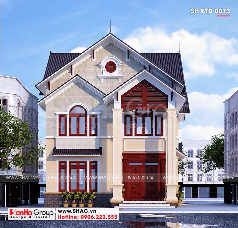 Biệt thự hiện đại 2 tầng mái thái diện tích 9,62x16,02m tại Hải Phòng – SH BTD 0073 2