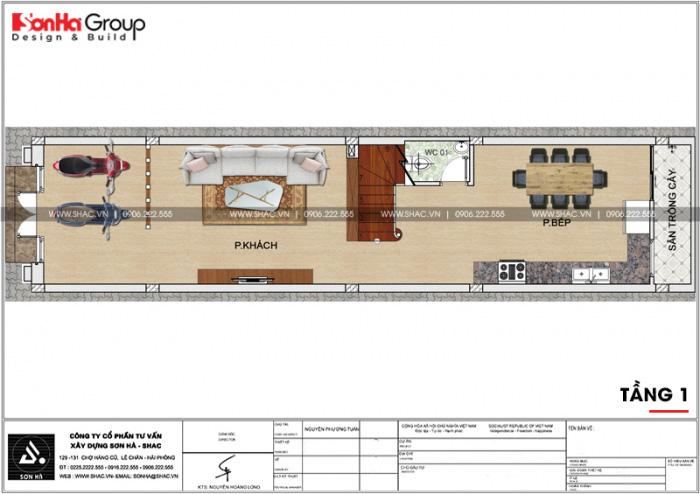 Bản vẽ công năng tầng 1 ngôi nhà ống tân cổ điển 3 tầng tại Hải Phòng