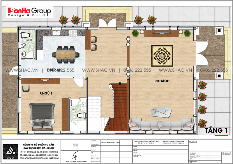 Biệt thự hiện đại 2 tầng mái thái diện tích 9,62x16,02m tại Hải Phòng – SH BTD 0073 5