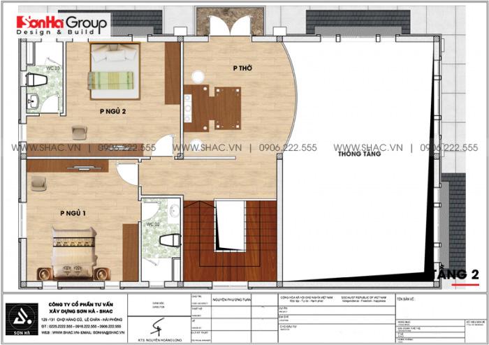 Bản vẽ mặt bằng công năng tầng 2 biệt thự hiện đại mái thái 2 tầng tại Hải Phòng