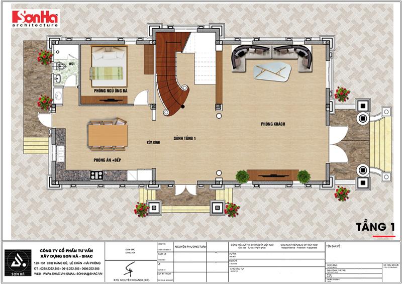 4 Mặt bằng tầng 1 biệt thự tân cổ điển 2 mặt tiền tại hải phòng sh btp 140