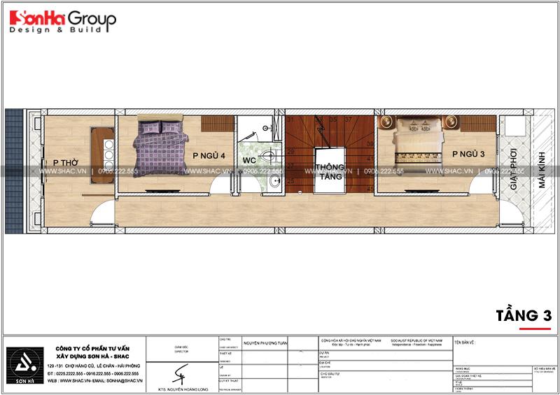 Mẫu nhà ống tân cổ điển 3 tầng diện tích 4,2x17,3m tại Hải Phòng – SH NOP 0191 5