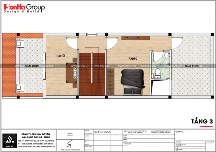 Mặt bằng bố trí công năng tầng 3 nhà ống mái thái mặt tiền 5m tại Hải Phòng