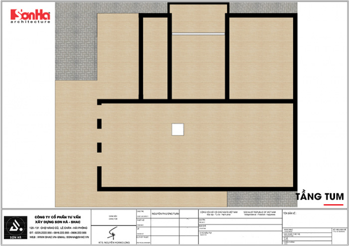 Bản vẽ mặt bằng công năng tầng tum ngôi biệt thự hiện đại 2 tầng tại Hải Dương