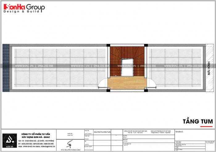 Bản vẽ công năng tầng 3 ngôi nhà ống tân cổ điển 3 tầng tại Hải Phòng