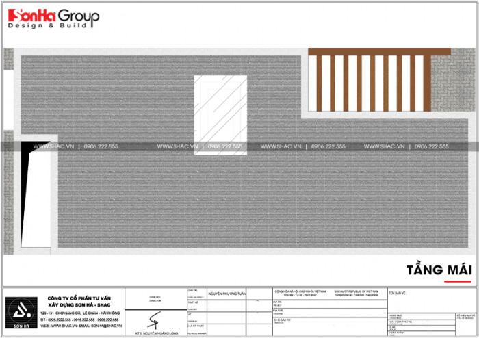 Bản thiết kế công năng tầng mái nhà ống 3 tầng hiện đại tại Bắc Ninh