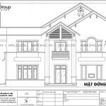 7 Mặt đứng trục 4 1 biệt thự hiện đại 2 tầng đẹp sh btd 0073
