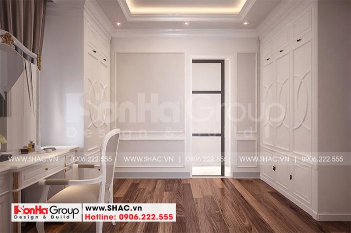 Thêm phương án thiết kế nội thất khu thay đồ với đồ gỗ tạo hình bắt mắt