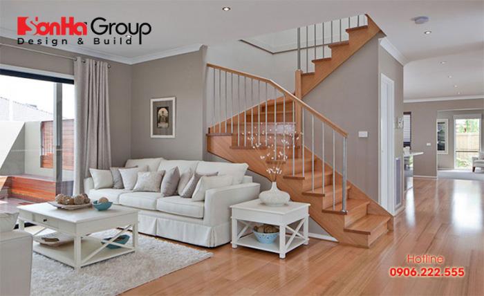 Mẫu cầu thang phòng khách biệt thự hiện đại làm từ vật liệu gỗ